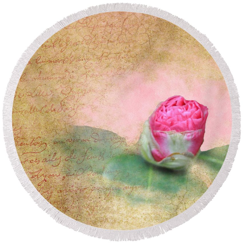 Popular Round Beach Towel featuring the photograph Evening Rosebud by Paulette B Wright