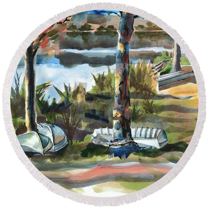 Evening Shadows At Shepherd Mountain Lake No W101 Round Beach Towel featuring the painting Evening Shadows At Shepherd Mountain Lake No W101 by Kip DeVore