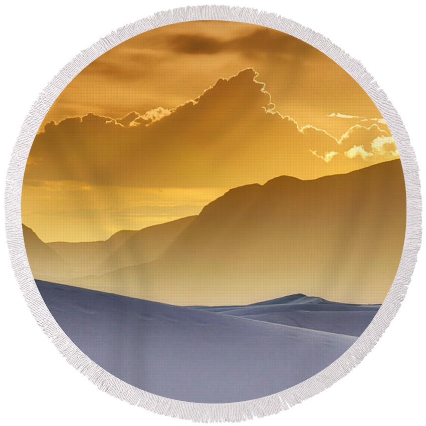 White Sands Round Beach Towel featuring the photograph Evening Stillness - White Sands Sunset by Nikolyn McDonald