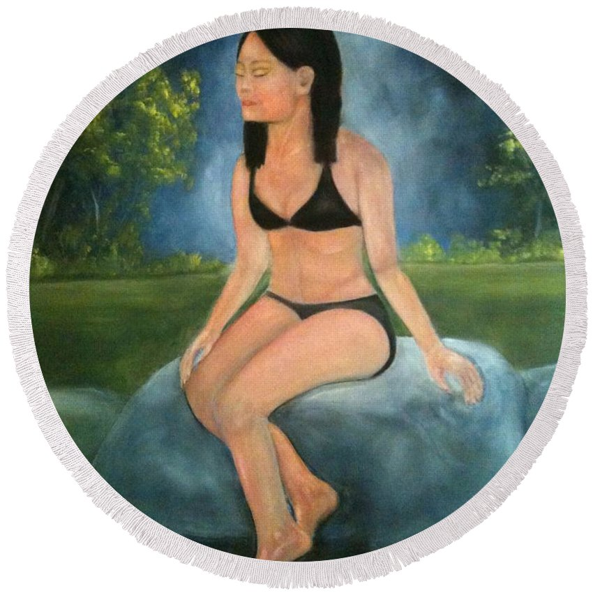 Woman Round Beach Towel featuring the painting Evening Swim by Sheila Mashaw