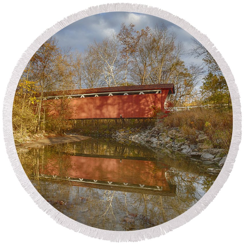 Cvnp Round Beach Towel featuring the photograph Everett Rd. Covered Bridge In Fall by Jack R Perry