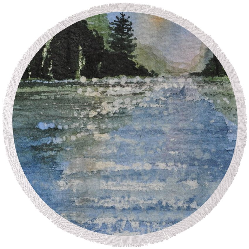 Spruce Round Beach Towel featuring the painting Evergreen Shore by Sally Rice