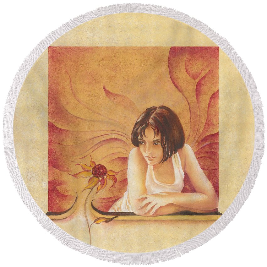Girl Round Beach Towel featuring the painting Everyday Angel With Flower by Anna Ewa Miarczynska
