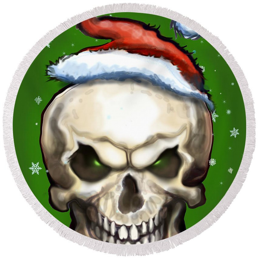 Evil Round Beach Towel featuring the painting Evil Christmas Skull by Kevin Middleton