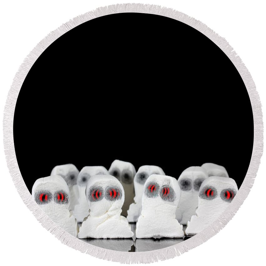Black Round Beach Towel featuring the photograph Evil White Ghosts In A Crowd With Black Space by Simon Bratt Photography LRPS