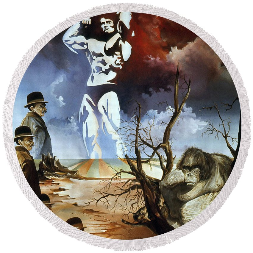 Surrealism Round Beach Towel featuring the painting Evolution by Otto Rapp