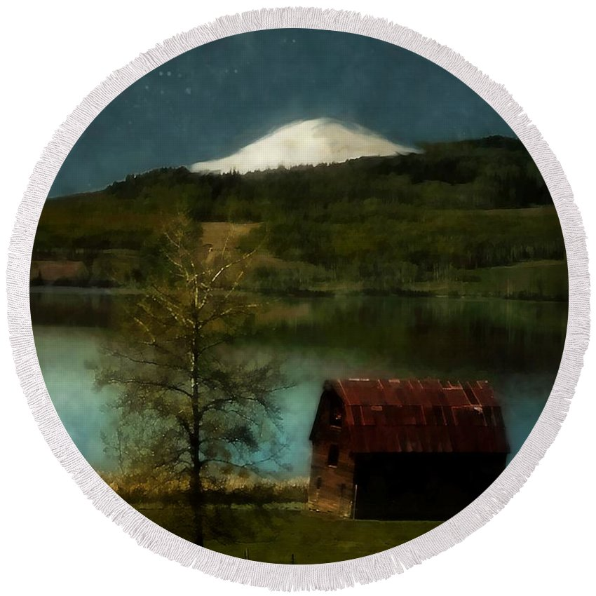 Landscape Round Beach Towel featuring the painting Excellence And Peace by RC DeWinter