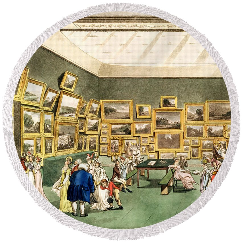 Gallery Round Beach Towel featuring the drawing Exhibition Of Watercoloured Drawings by T and Pugin and AC Rowlandson