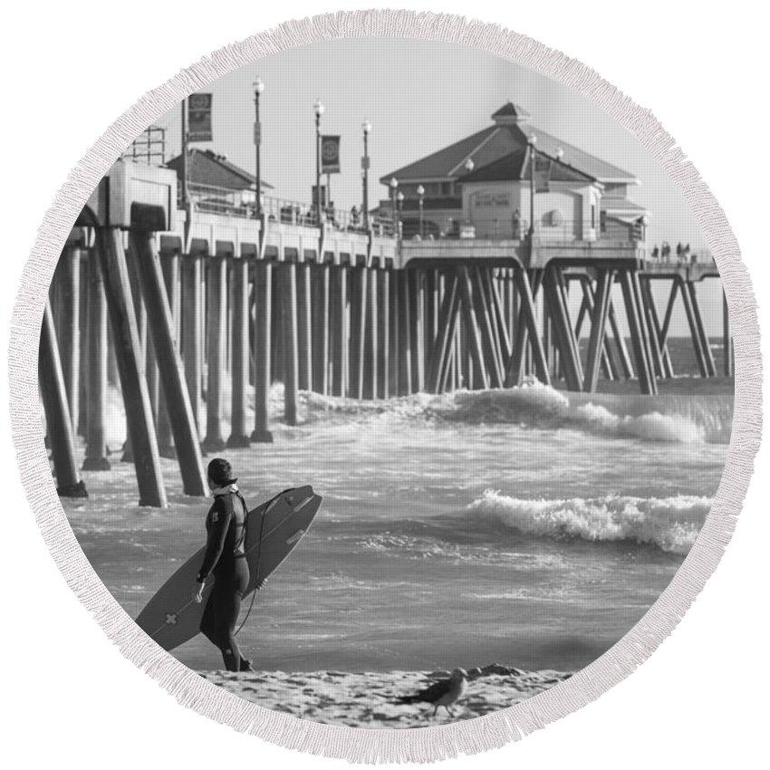 Huntington Beach Round Beach Towel featuring the photograph Existential Surfing At Huntington Beach by Scott Campbell