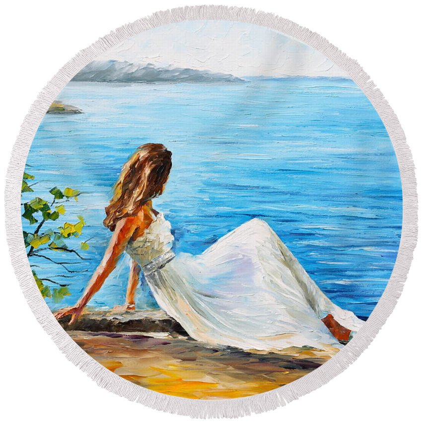 Woman Round Beach Towel featuring the painting Expectation Of My Love by Leonid Afremov