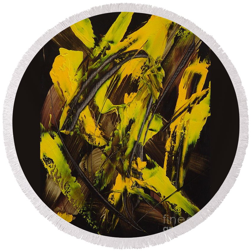 Abstract Round Beach Towel featuring the painting Expectations Yellow by Dean Triolo
