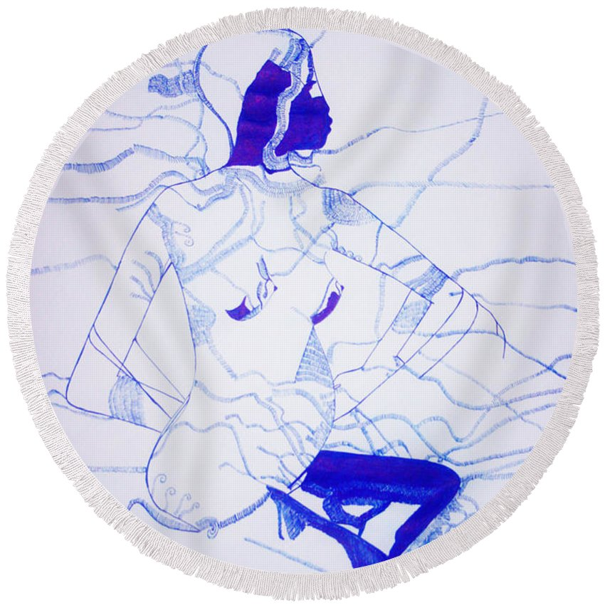 Jesus Round Beach Towel featuring the drawing Expecting by Gloria Ssali