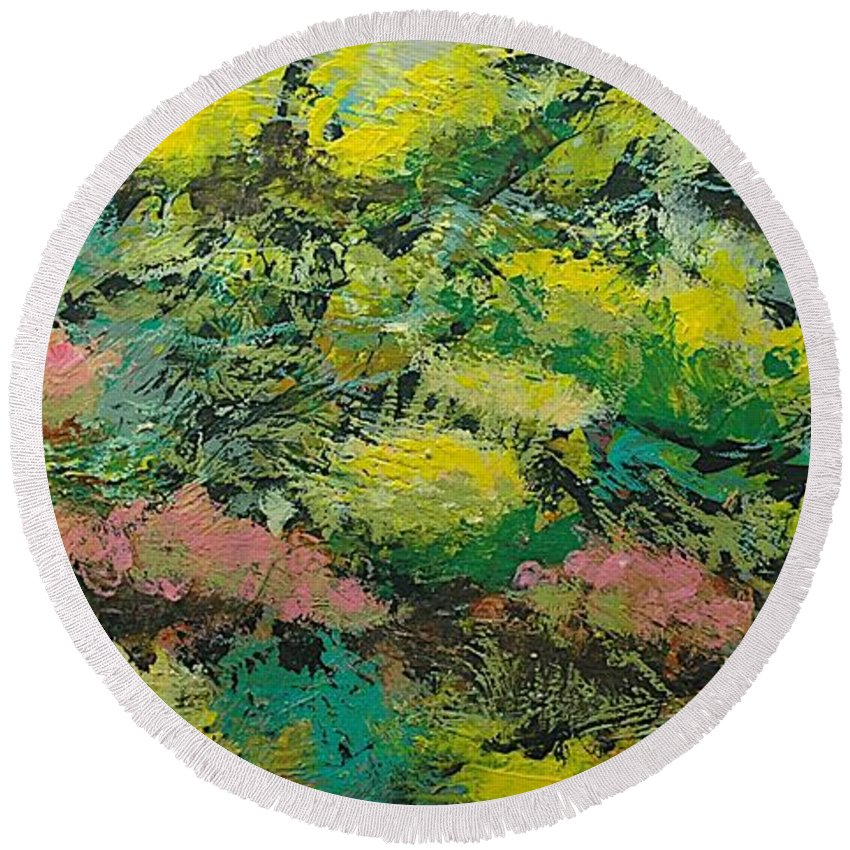 Landscape Round Beach Towel featuring the painting Extract by Allan P Friedlander