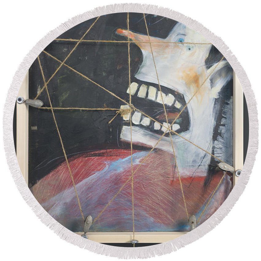 Tooth Round Beach Towel featuring the painting Extraction by Tim Nyberg