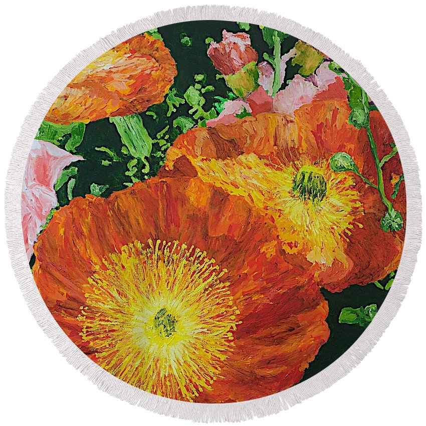 Landscape Round Beach Towel featuring the painting Exuberance is Beauty by Allan P Friedlander