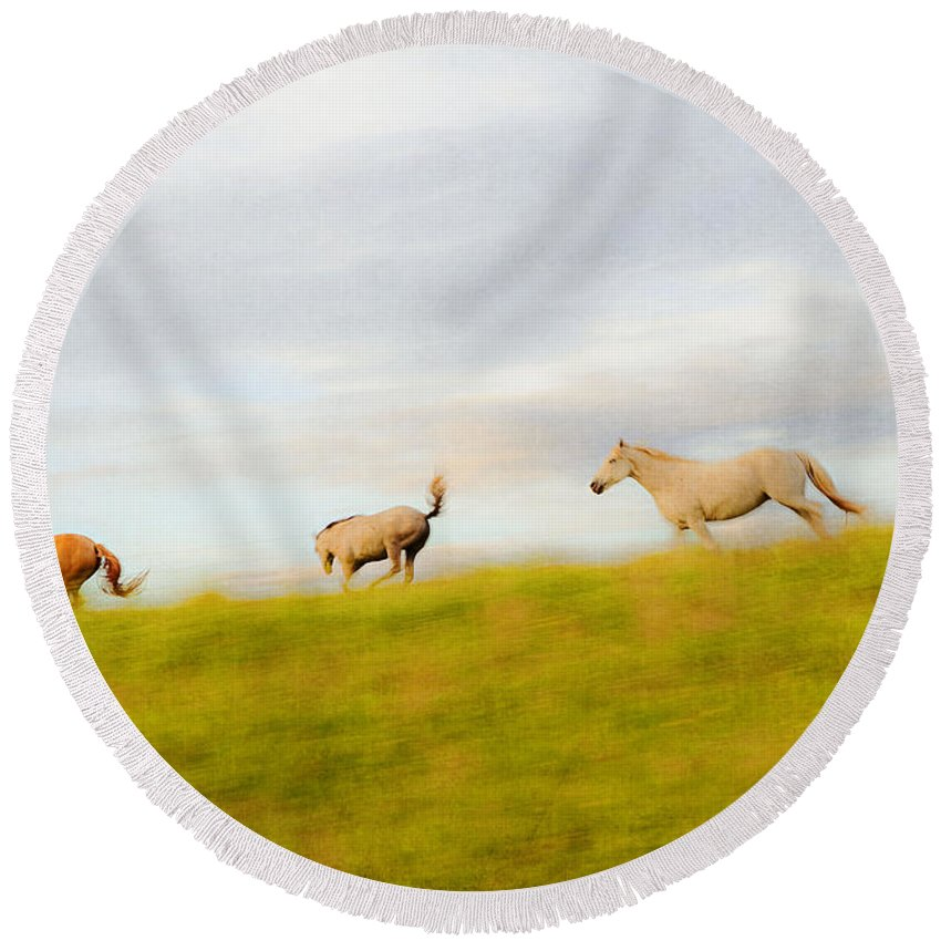 Horse Round Beach Towel featuring the photograph Exuberance by Theresa Tahara