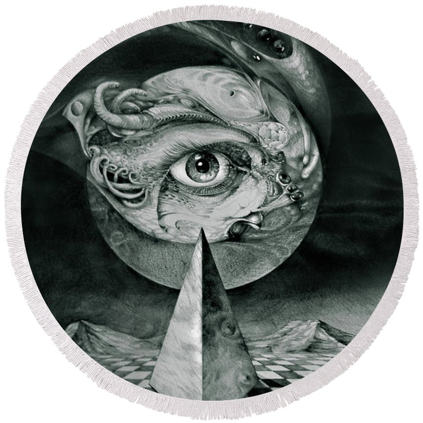 otto Rapp Surrealism Round Beach Towel featuring the drawing Eye Of The Dark Star by Otto Rapp