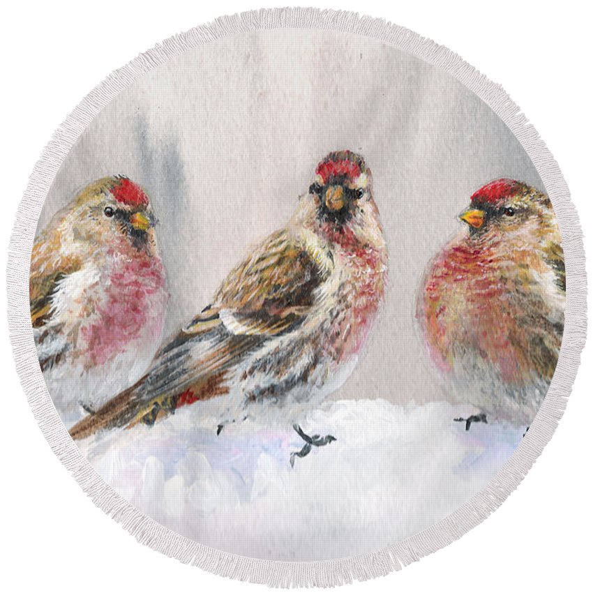 Crossbill Round Beach Towels