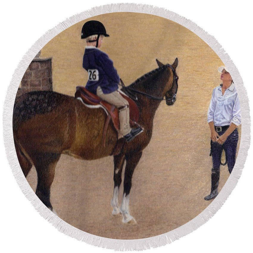 Horse Round Beach Towel featuring the painting Eyes Up Heels Down by Patricia Barmatz