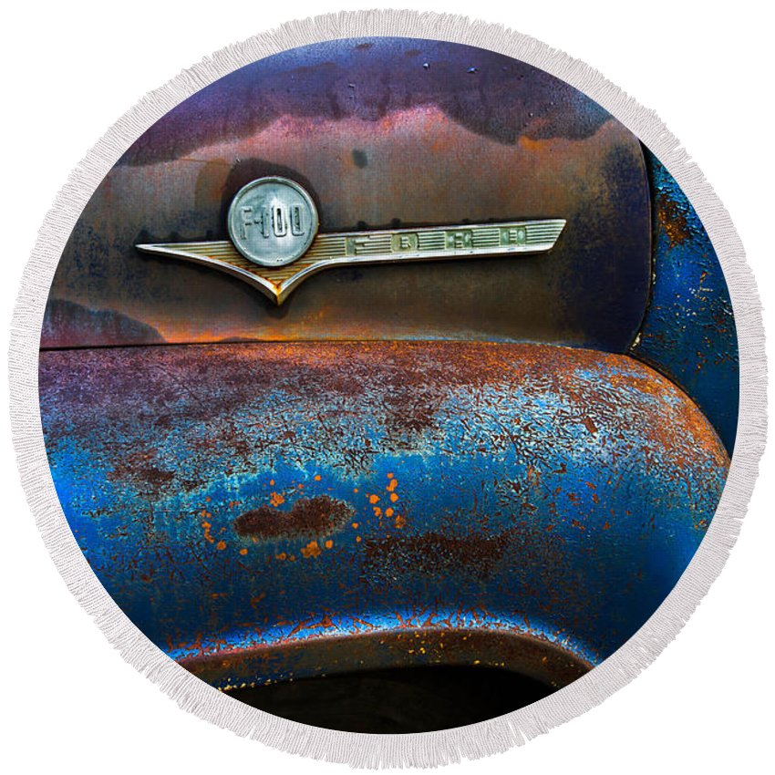 Appalachia Round Beach Towel featuring the photograph F-100 Ford by Debra and Dave Vanderlaan