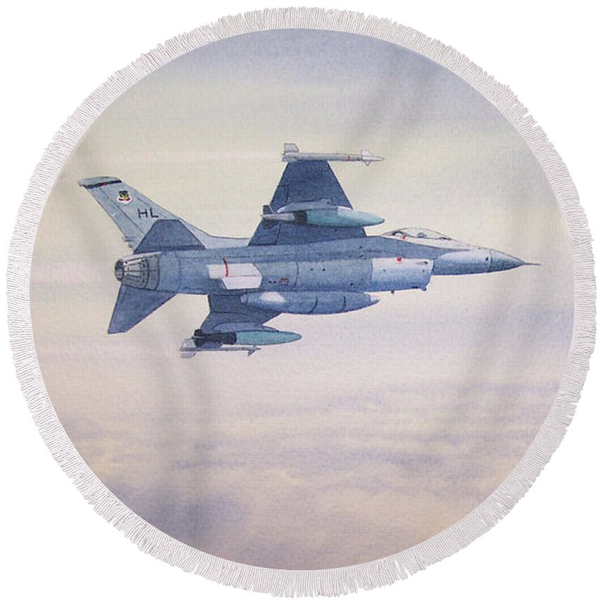 Jet Round Beach Towel featuring the painting F-16 Fighting Falcon by Bill Holkham