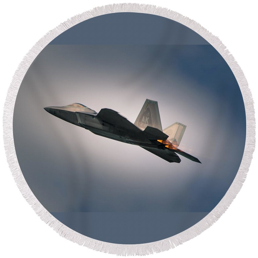 Military Round Beach Towel featuring the photograph F-22 by Nikolai Martusheff