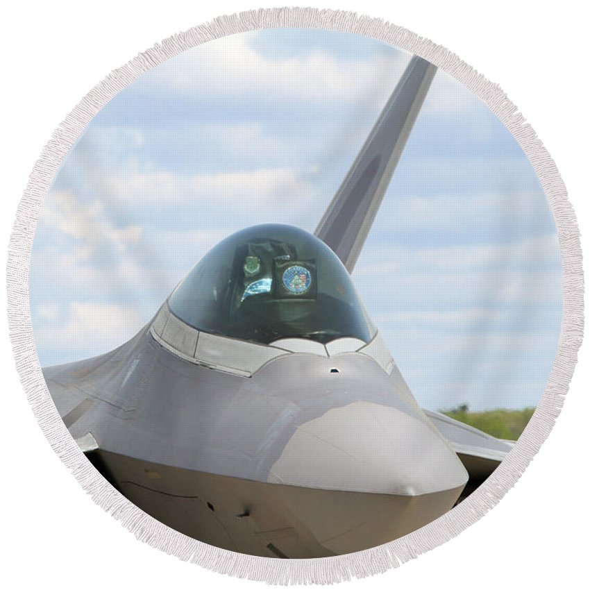 F-22 Raptor Lockheed Martin Canopy Close Up Fighter Military Aircraft Airplane Us Air Force War Round Beach Towel featuring the photograph F-22 Raptor Lockheed Martin Air Force by James Harrington