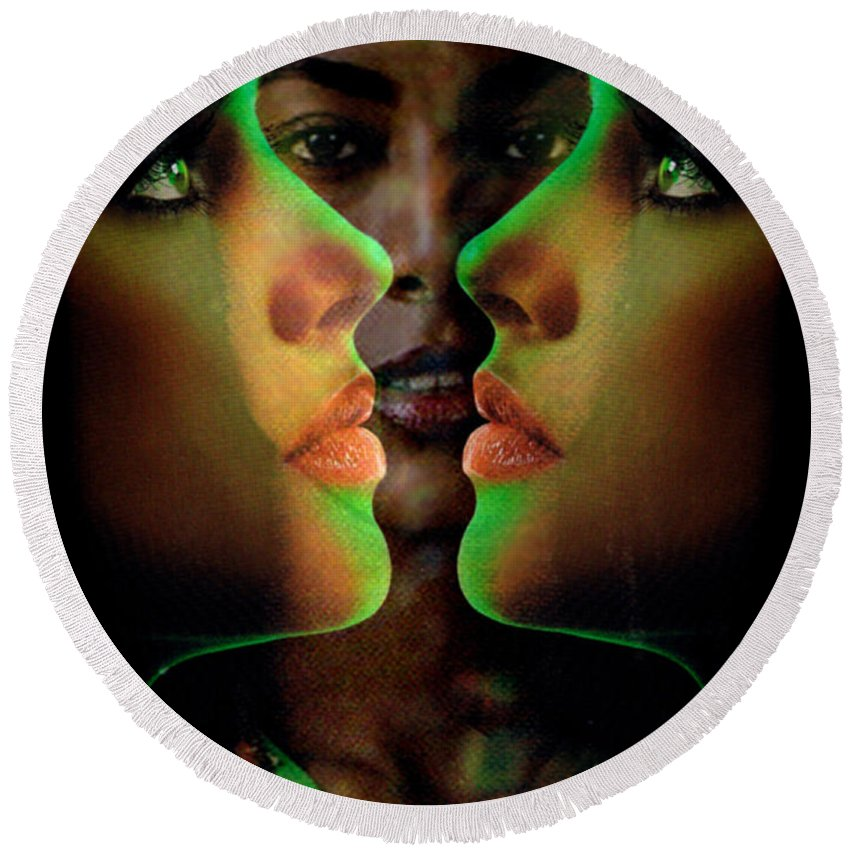 Women Round Beach Towel featuring the digital art Face 2 Face by Seth Weaver