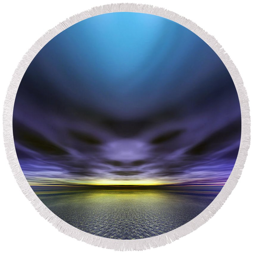 Alien Round Beach Towel featuring the digital art Face In The Clouds by Nicholas Burningham