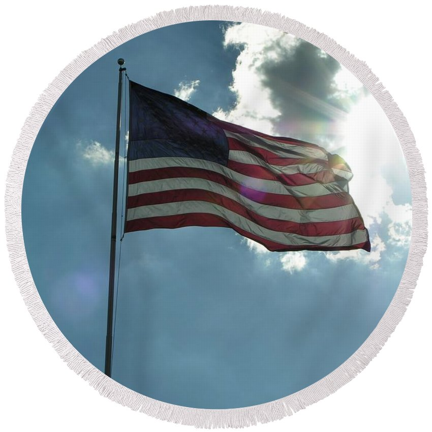 American Round Beach Towel featuring the photograph Face Of Jesus In Cloud W Flag 9 11 Remembered by Diane Greco-Lesser