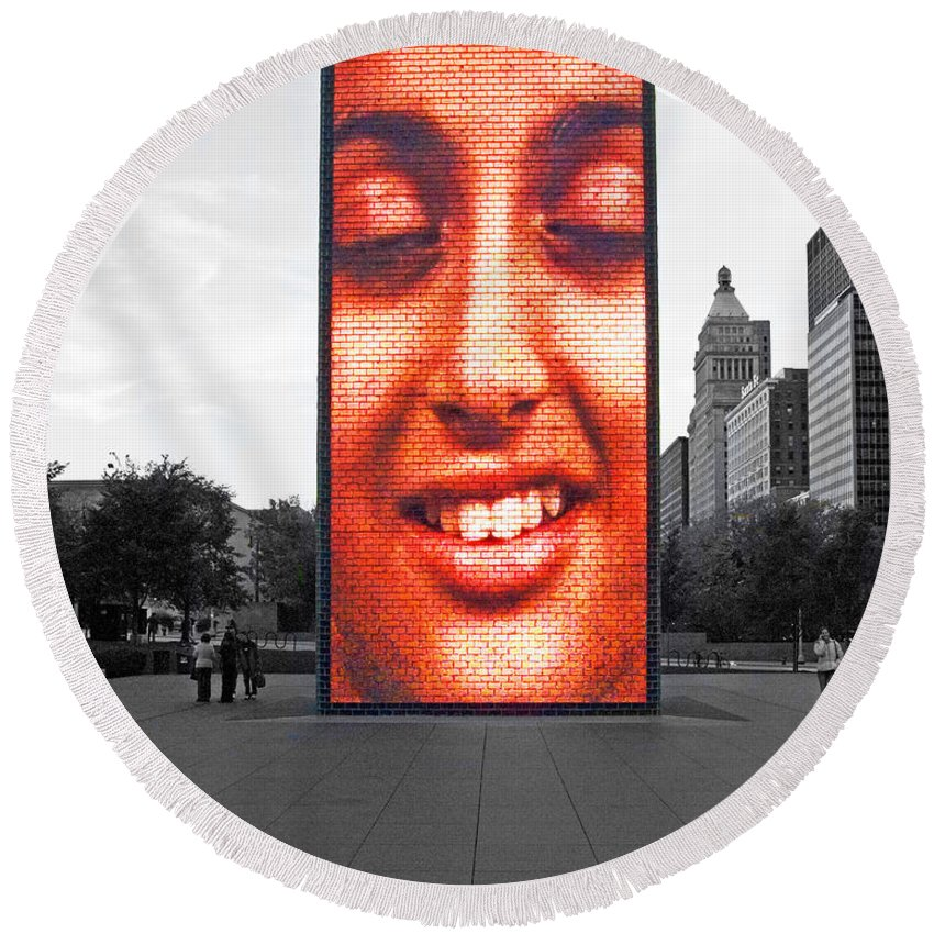 Face Round Beach Towel featuring the photograph Face On Michigan by Rick Selin