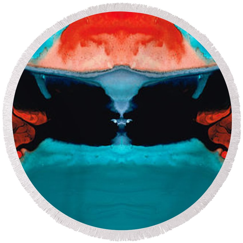 Samurai Round Beach Towel featuring the painting Face To Face - Abstract Art By Sharon Cummings by Sharon Cummings