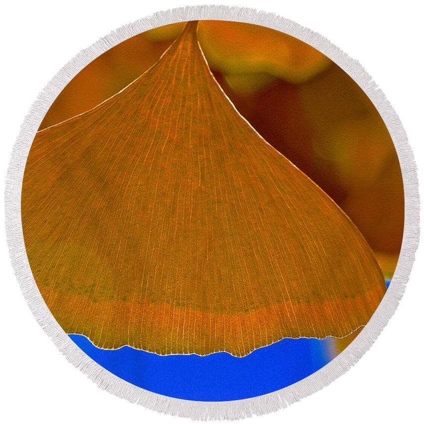 Fading Leaf Round Beach Towel featuring the photograph Fade To Autumn by Bill Owen