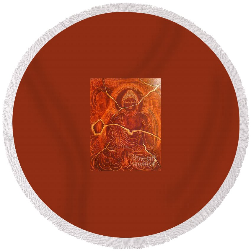 Traditional Painting Round Beach Towel featuring the painting Faded Peace_sold by Fei A