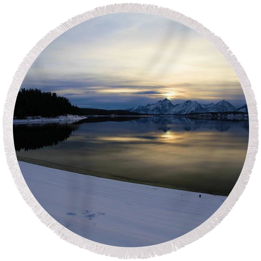 Grand Teton National Park Round Beach Towel featuring the photograph Fading Behind The Tetons by Adam Jewell