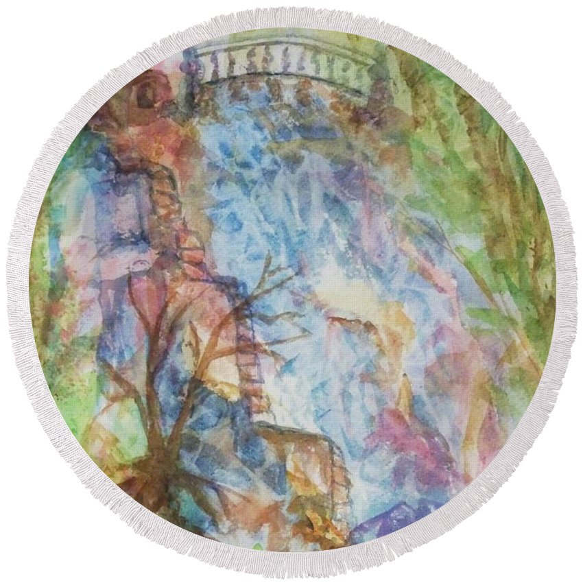 Waterfall Round Beach Towel featuring the painting Faerie Falls by Ellen Levinson