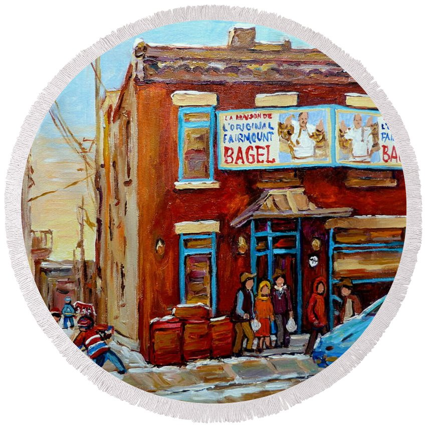 Montreal Round Beach Towel featuring the painting Fairmount Bagel In Winter Montreal City Scene by Carole Spandau