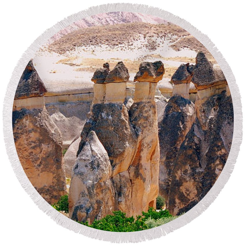 Landscape Round Beach Towel featuring the photograph Fairy Chimney Panorama by Apurva Madia