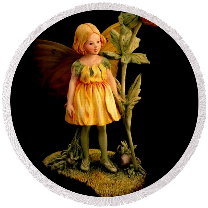 Flower Fairy Round Beach Towel featuring the photograph Fairy by Linsey Williams