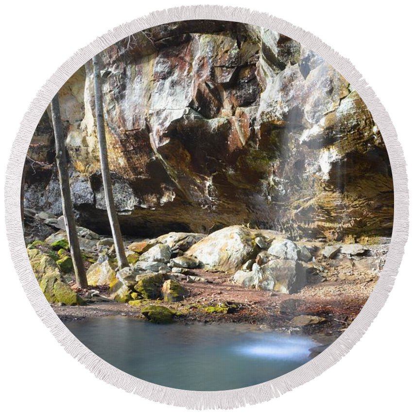 Waterfall Round Beach Towel featuring the photograph Fairyland by Deanna Cagle
