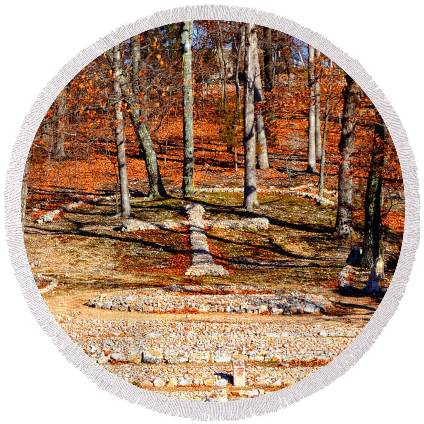 Landscape Round Beach Towel featuring the photograph Faith And Freedom by Peggy Franz