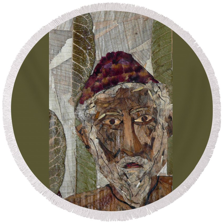 Portrait.holy Person Portrait Round Beach Towel featuring the mixed media Fakeer by basant Soni
