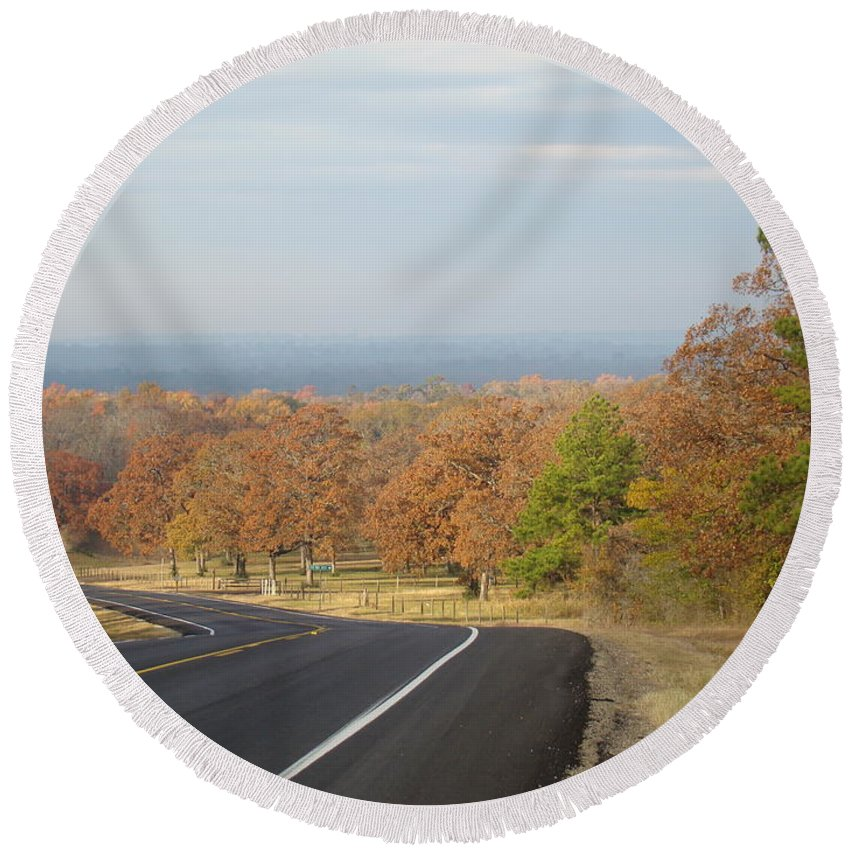 Fall Round Beach Towel featuring the photograph Fall Along The Country Highway 2 by Michael MacGregor