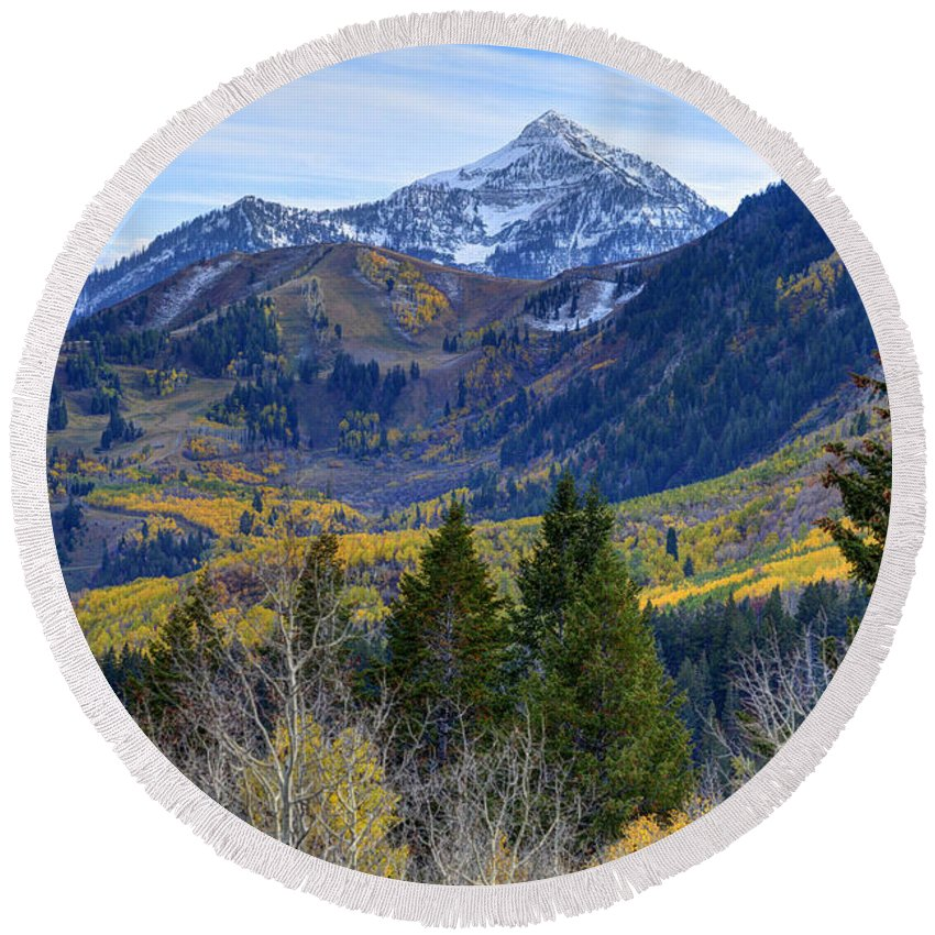 Wasatch Mountains Round Beach Towel featuring the photograph Fall At Cascade Peak And Sundance From Alpine Loop by Gary Whitton