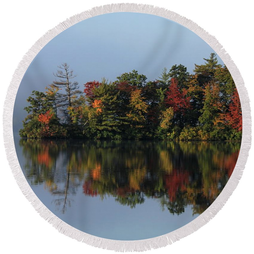 Landscape Round Beach Towel featuring the photograph Fall At Heart Pond by Kenny Glotfelty