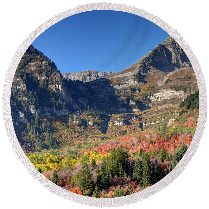 Mount Timpanogos Round Beach Towel featuring the photograph Fall At Mt. Timpanogos From Sundance - Utah by Gary Whitton