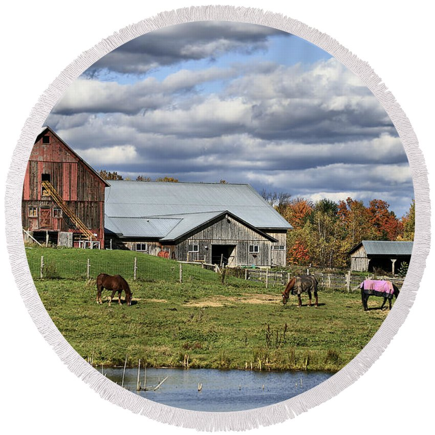 Barn. Horses Round Beach Towel featuring the photograph Fall At The Horse Farm by Deborah Benoit
