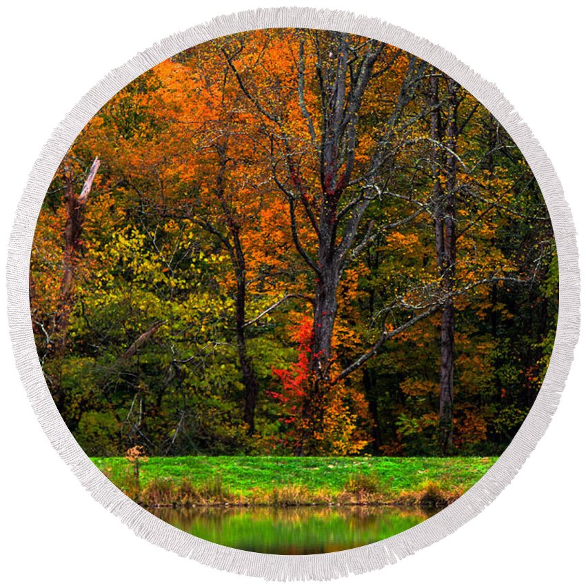 Fall Color Round Beach Towel featuring the photograph Fall Colors by John Hannan