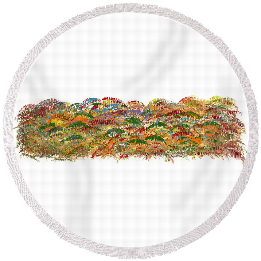 Trees Round Beach Towel featuring the painting Fall Colours by Bjorn Sjogren
