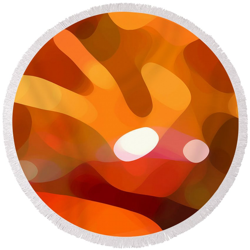 Abstract Round Beach Towel featuring the painting Fall Day by Amy Vangsgard